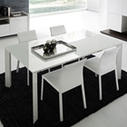 Slide White Extension Rectangle Table with Glass Top