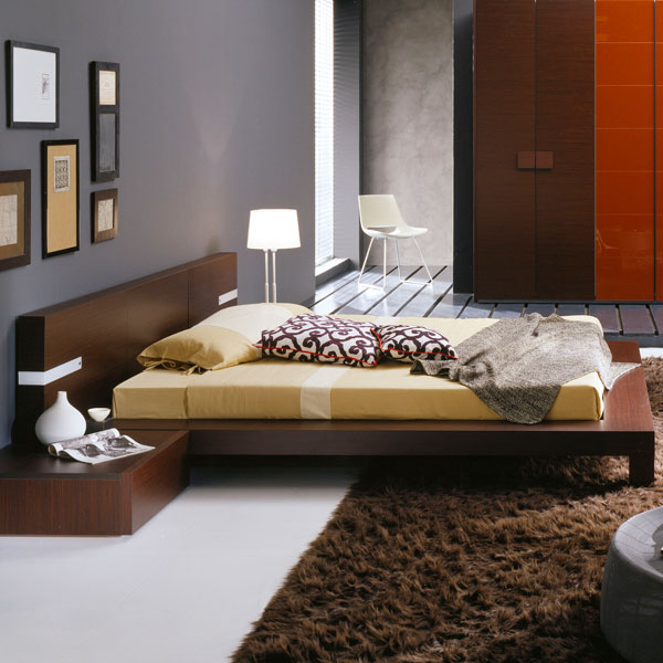 Win Wenge Platform Bed with Light