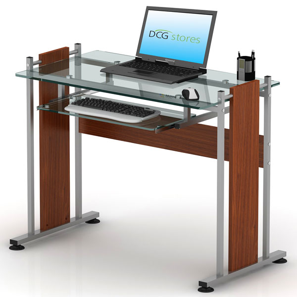 Compact Glass Computer Desk