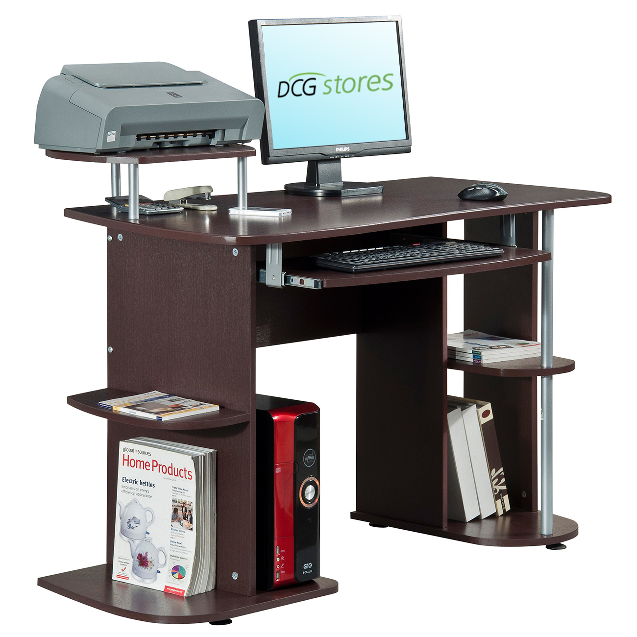 Computer Desk with Elevated Printer Stand - RTA-8104