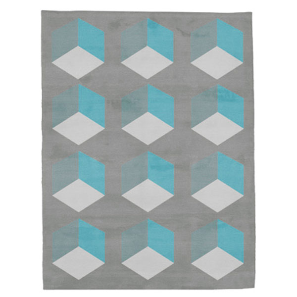 Cubizzmo No.1 - Grey & Blue Rug