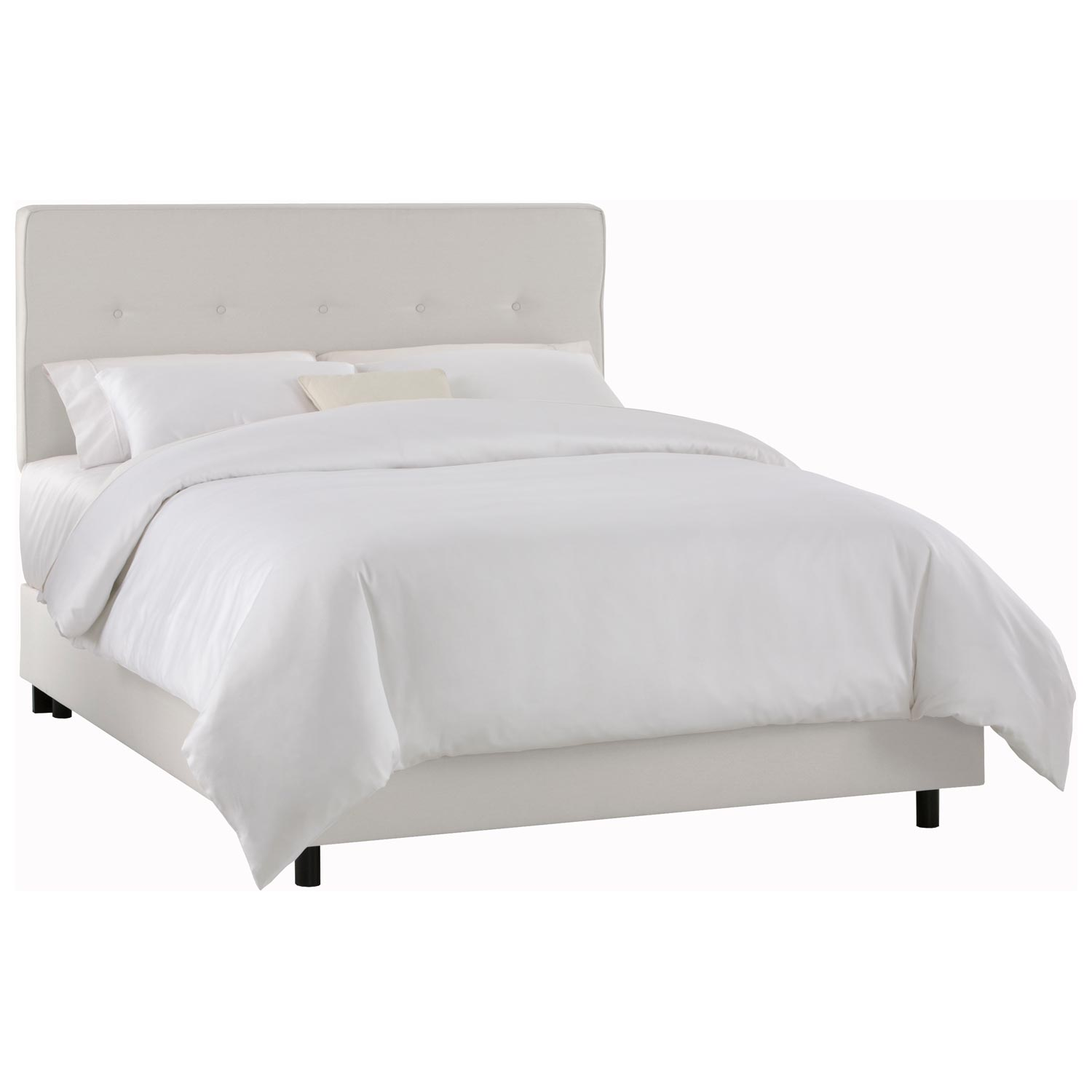 Cassiopeia Upholstered Bed - Twill, Button Accents, White