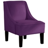 Crux Swoop Lounge Chair - Velvet, Aubergine