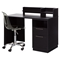 Academic Desk with Clear Office Chair - Black Oak - SS-100076
