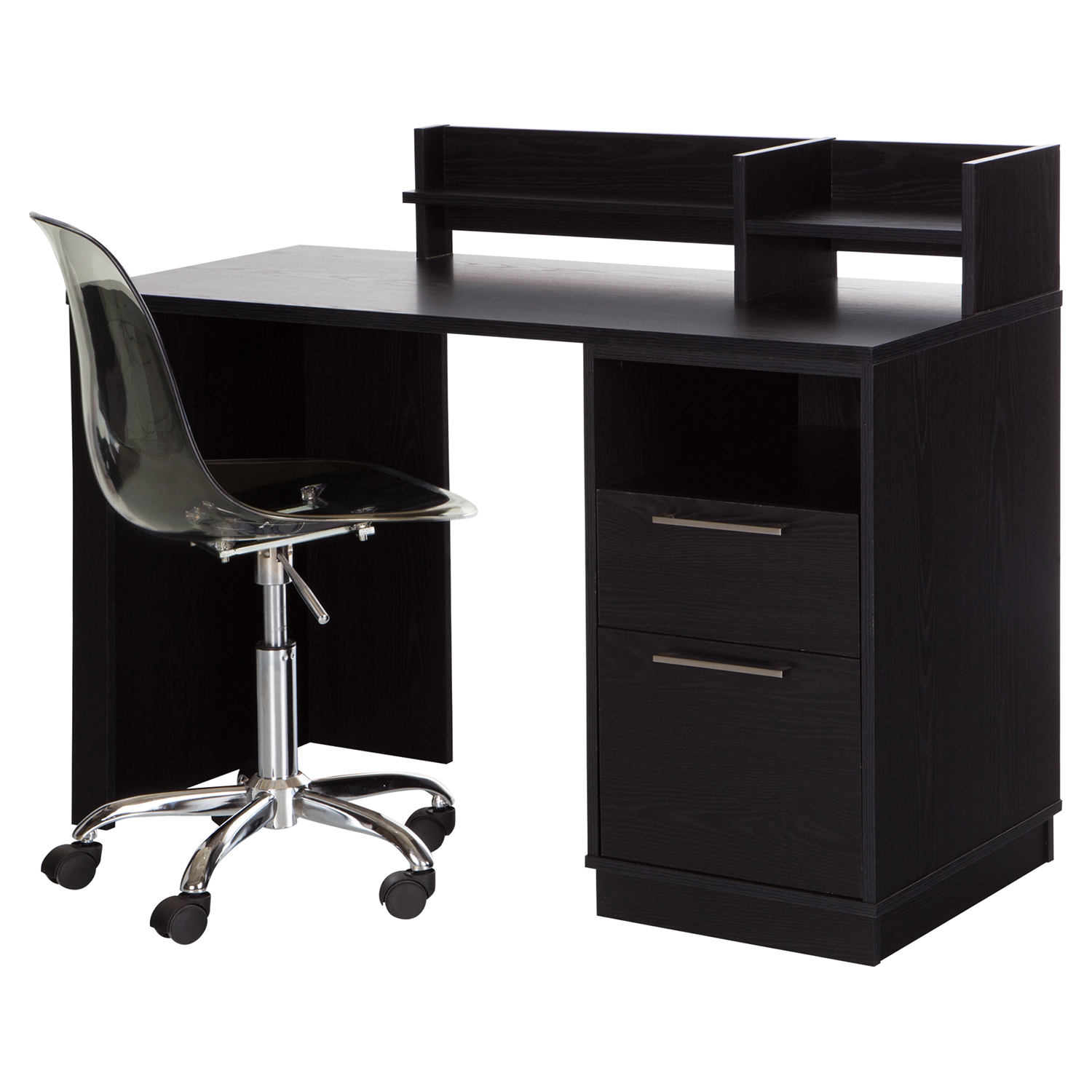 Academic Desk with Clear Office Chair - Black Oak
