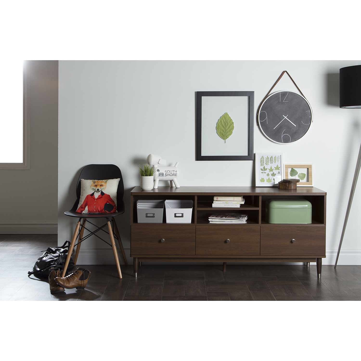 Olly TV Stand - 3 Drawers, Brown Walnut - SS-10011