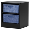 Libra Nightstand - 2 Storage Baskets, Pure Black