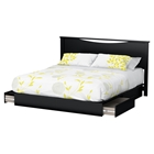 Step One King Platform Bed - 2 Drawers, Panel Headboard, Pure Black