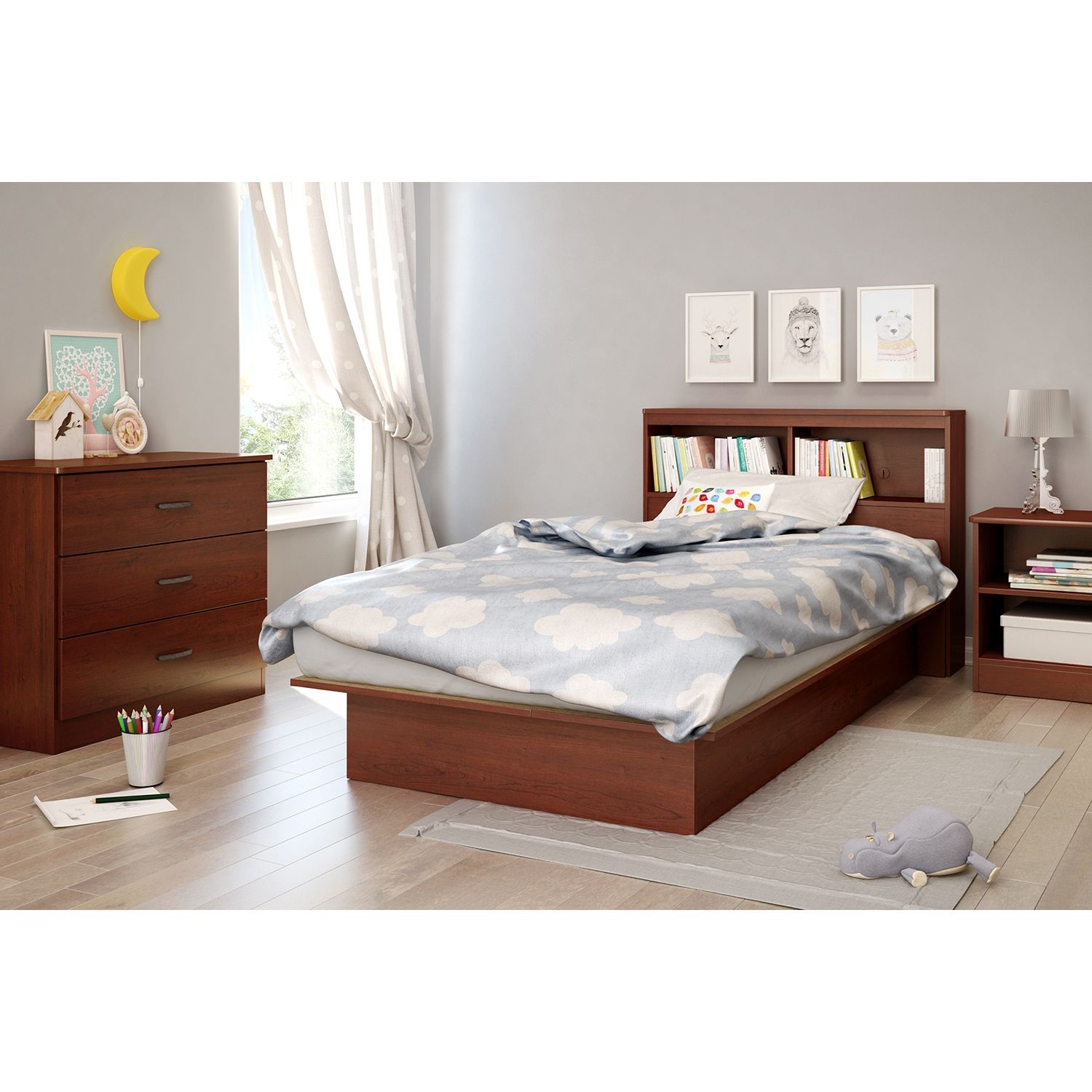 Libra Twin Platform Bed - Bookcase Headboard, Royal Cherry - SS-10044