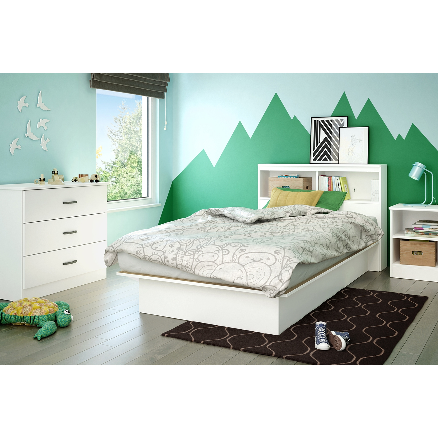 Libra Twin Platform Bed - Bookcase Headboard, Pure White - SS-10045
