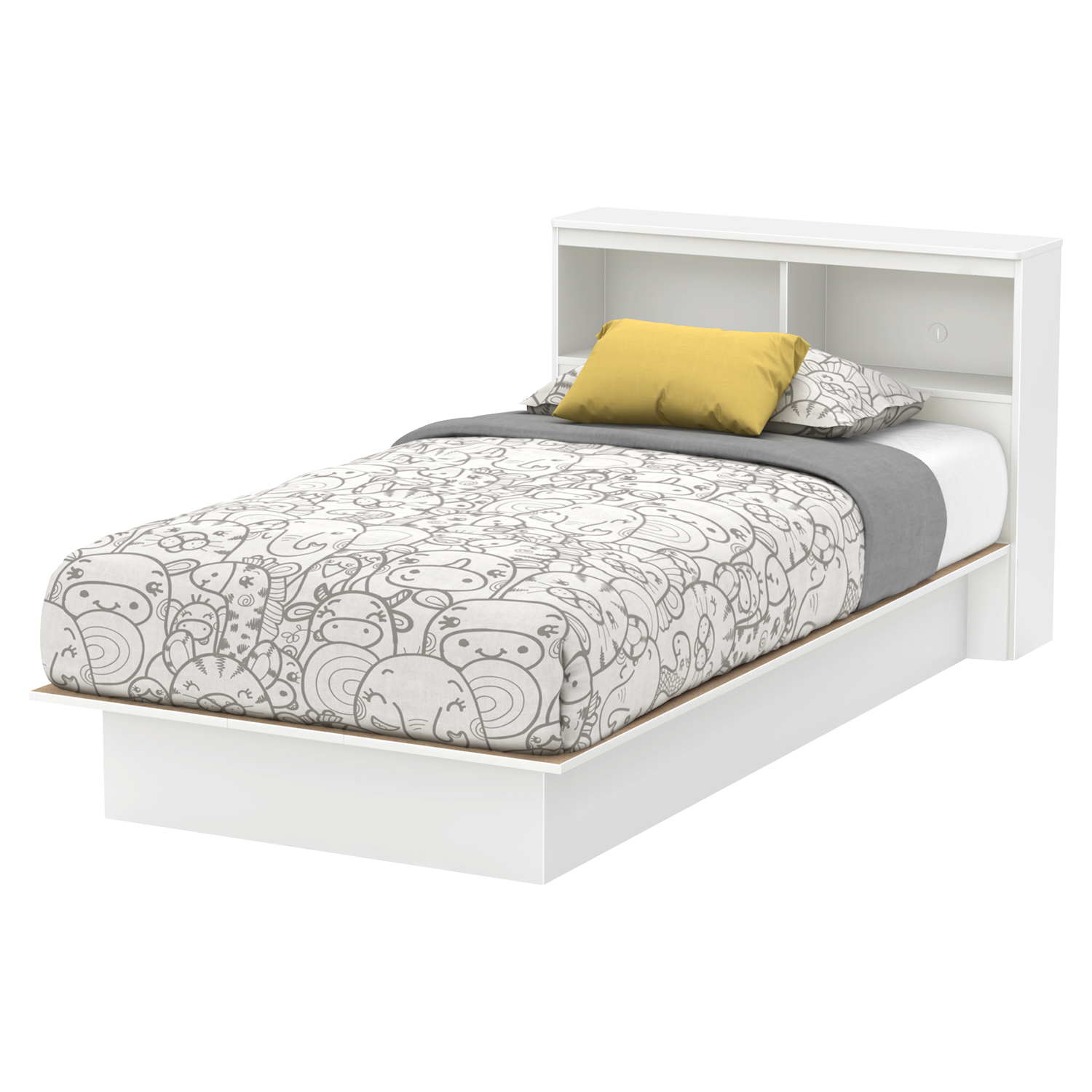 Libra Twin Platform Bed - Bookcase Headboard, Pure White