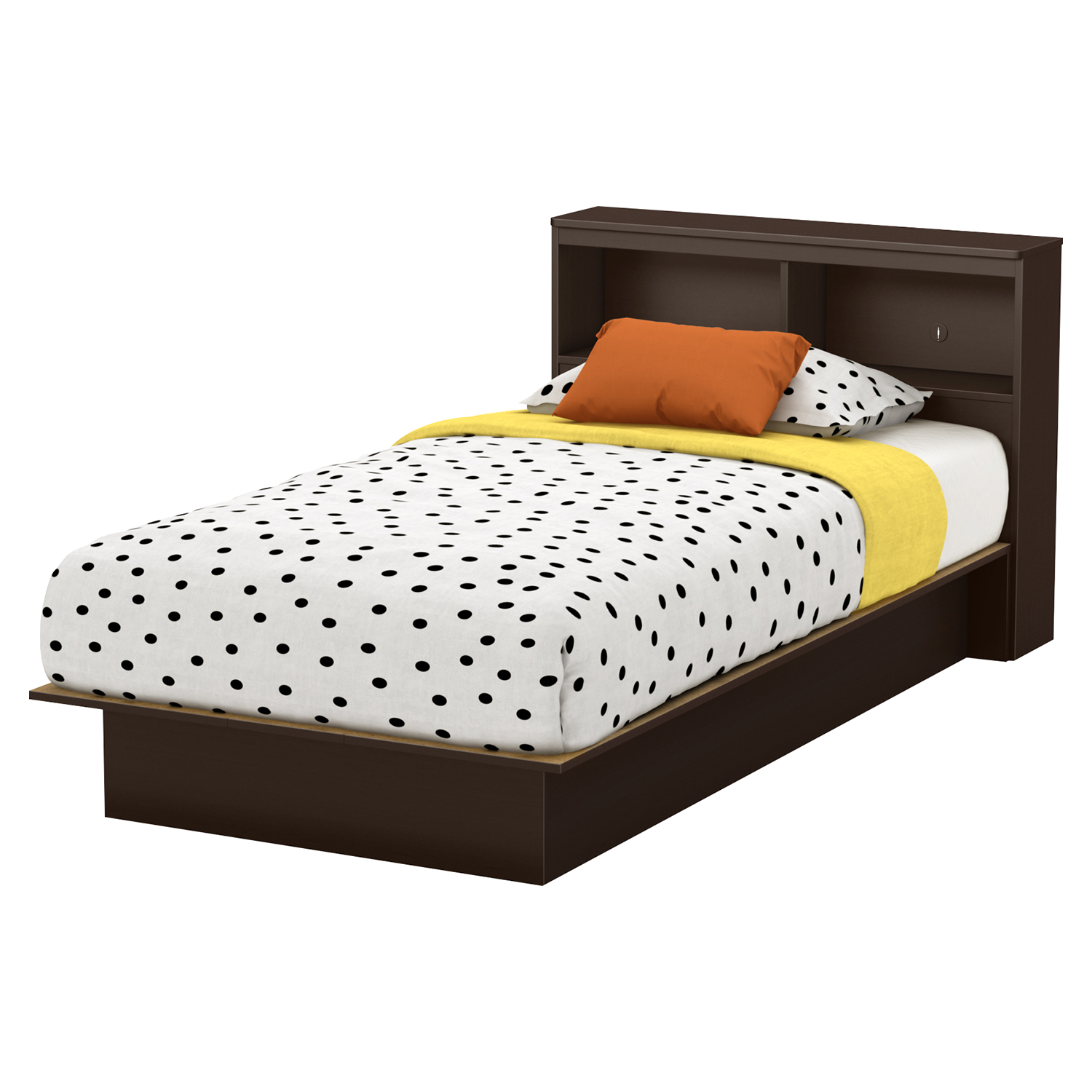 Libra Twin Platform Bed - Bookcase Headboard, Chocolate