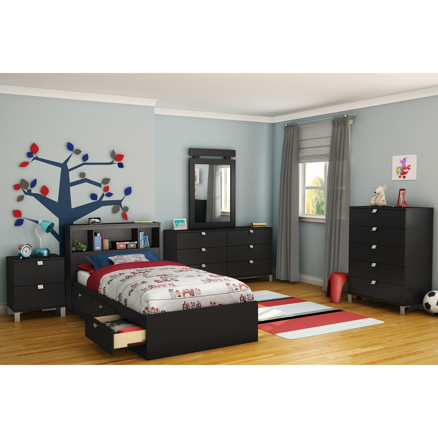 Spark Twin Mates Bed - 3 Drawers, Bookcase Headboard, Pure Black - SS-10049
