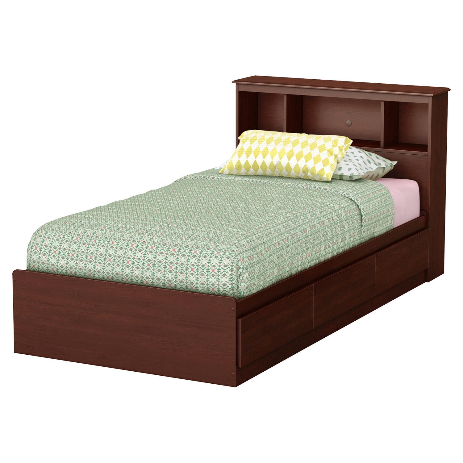 Little Treasures 3 Drawer Twin Mates Bed - Bookcase Headboard, Royal Cherry