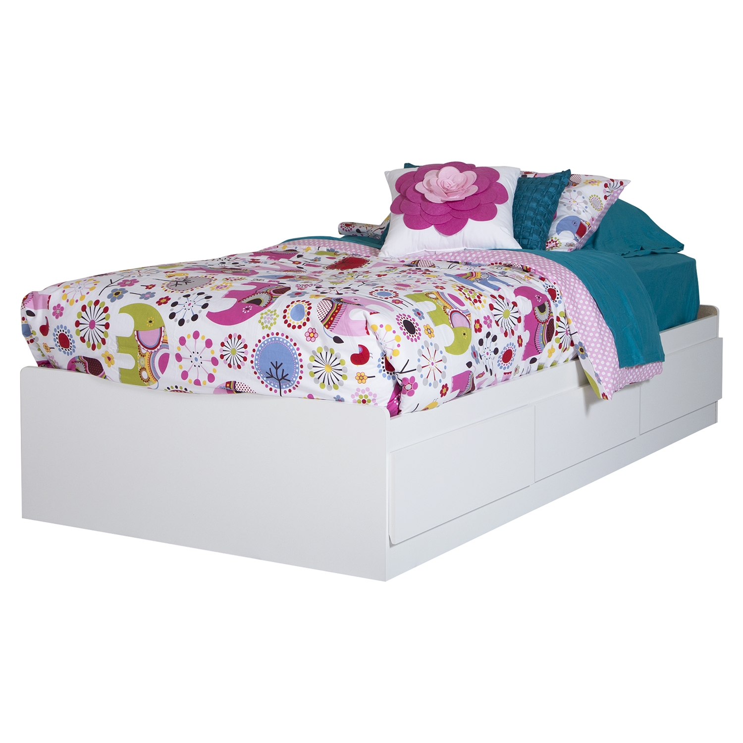 Logik Twin Mates Bed - 3 Drawers, Pure White