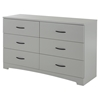 Step One Double Dresser - 6 Drawers, Soft Gray