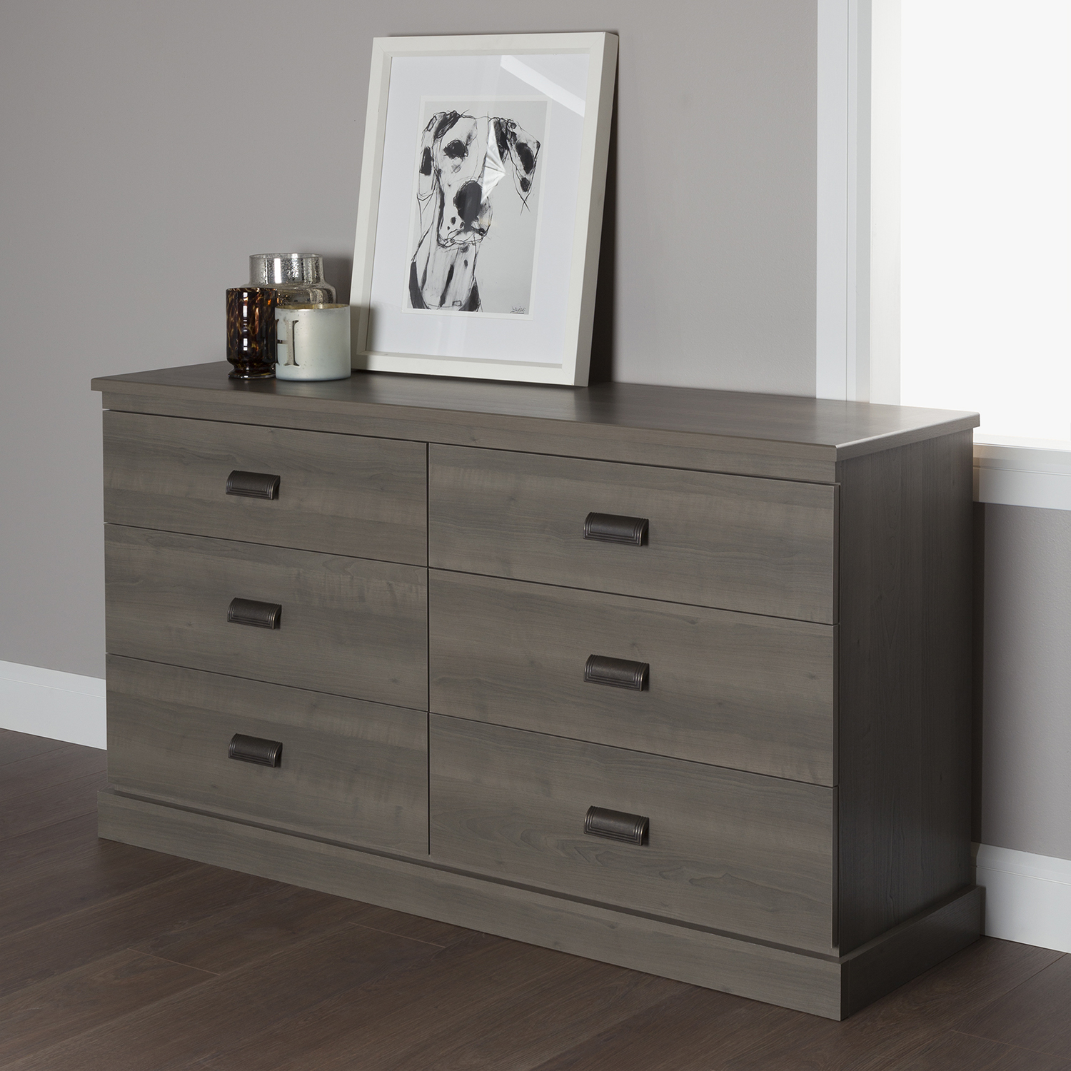 Gloria Double Dresser - 6 Drawers, Gray Maple - SS-10117