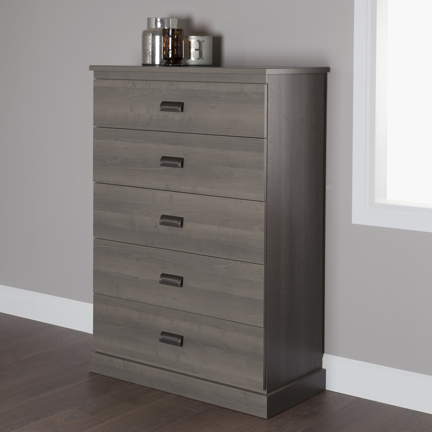 Gloria Chest - 5 Drawers, Gray Maple - SS-10118