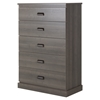 Gloria Chest - 5 Drawers, Gray Maple