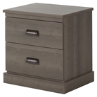 Gloria Nightstand - 2 Drawers, Gray Maple
