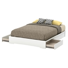 Basic Queen Platform Bed - 2 Drawers, Pure White