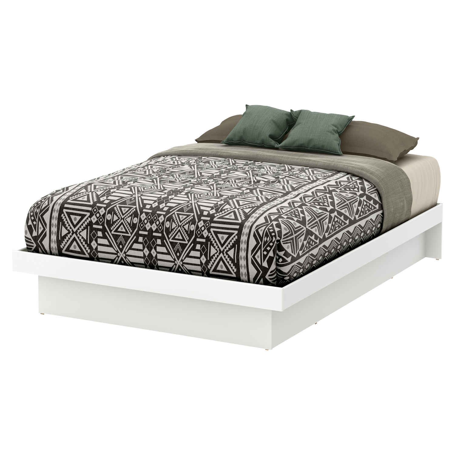 Basic Full Platform Bed - Moldings, Pure White - SS-10159