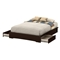 Basic Queen Platform Bed - 2 Drawers, Chocolate - SS-10161