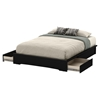 Basic Queen Platform Bed - 2 Drawers, Pure Black
