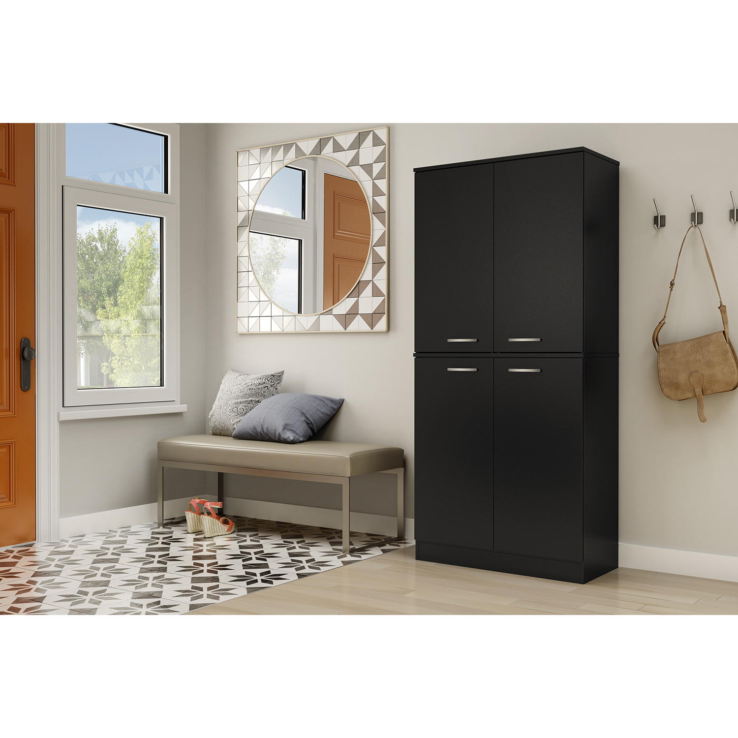 Axess Armoire - 4 Doors, Pure Black - SS-10178