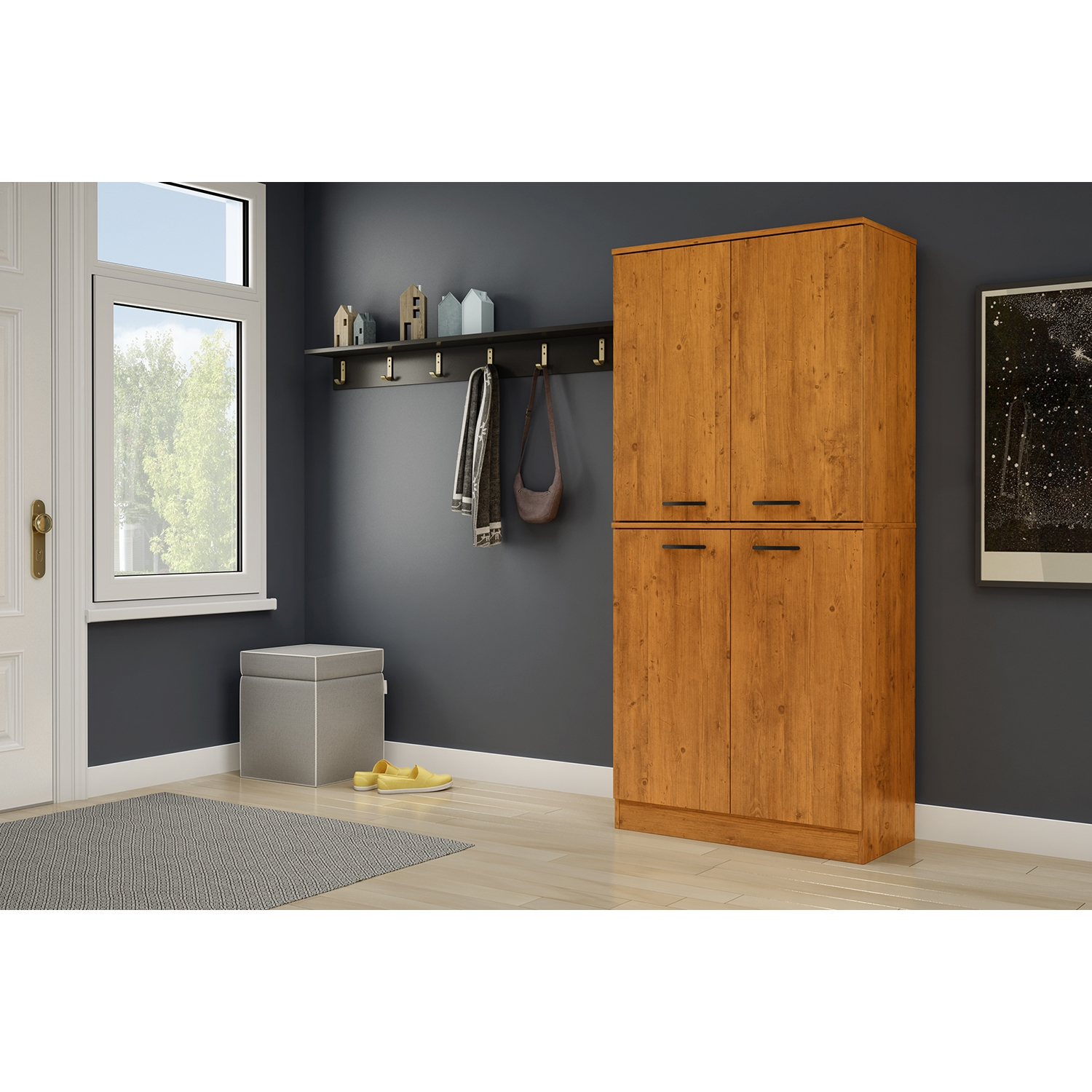 Axess Armoire - 4 Doors, Country Pine - SS-10187
