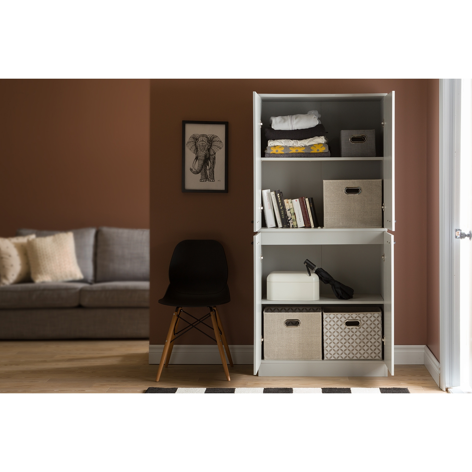 Axess Armoire - 4 Doors, Soft Gray - SS-10193
