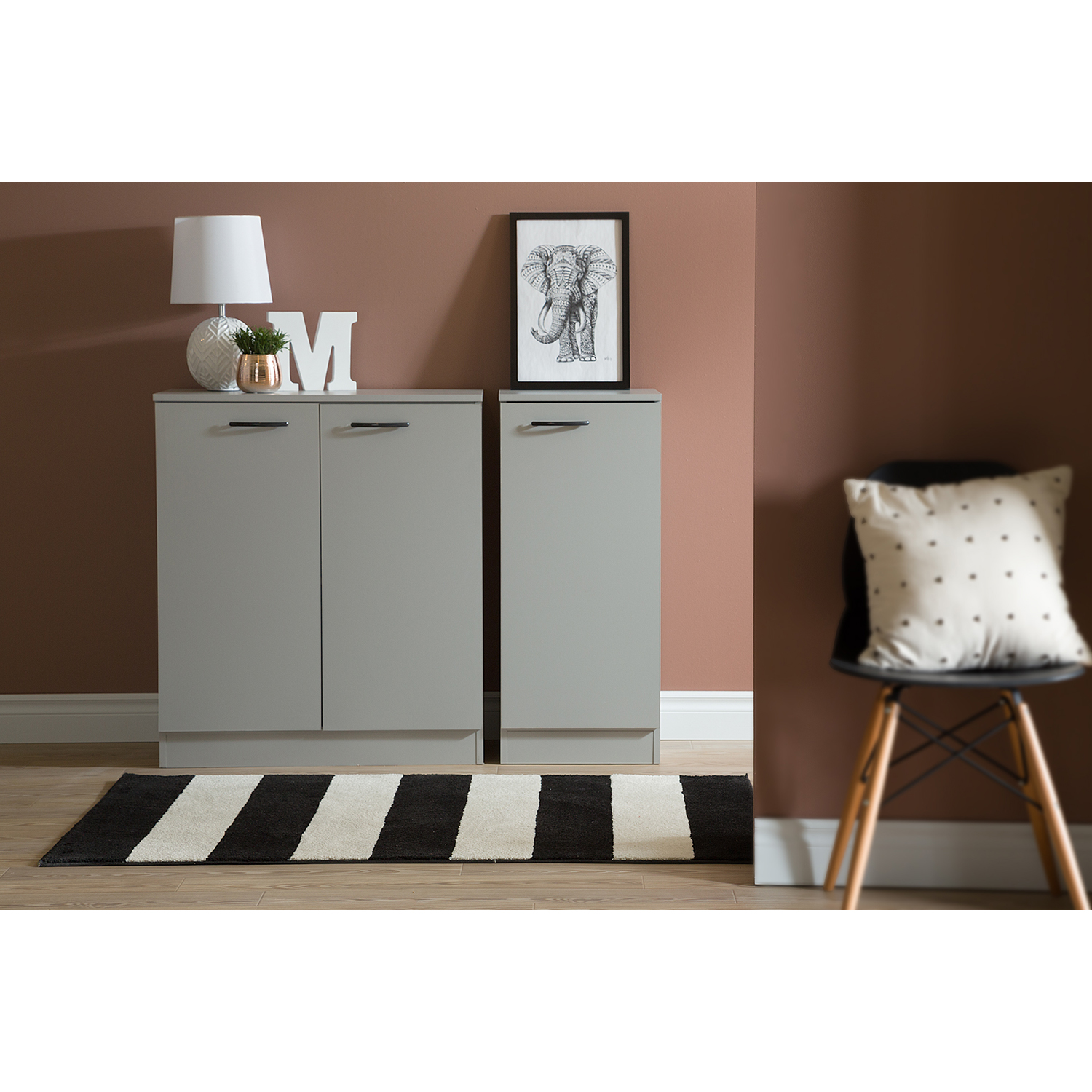 Axess Narrow Storage Cabinet - Soft Gray - SS-10195