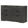Holland Double Dresser - 6 Drawers, Gray Oak