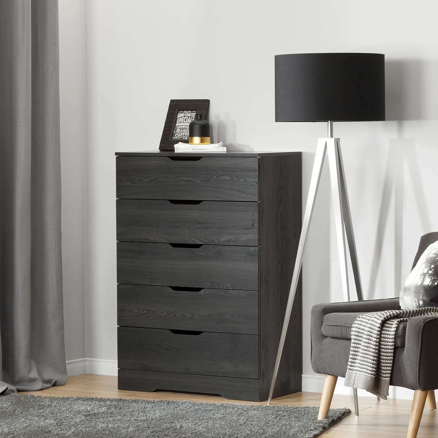 Holland Chest - 5 Drawers, Gray Oak - SS-10396