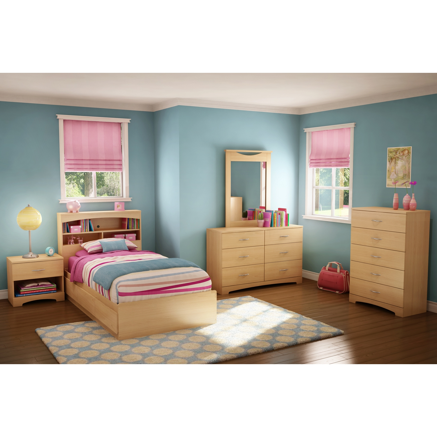 Popular Twin Mates Bed - 3 Drawers, Natural Maple - SS-2713A1