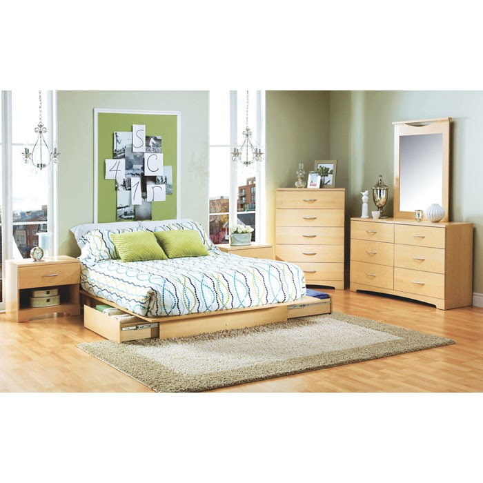 Step One Natural Maple Bedroom Set with Storage Bed