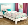 Libra Twin White Platform Bed with Headboard