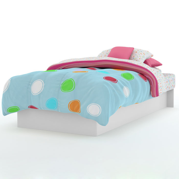 Libra Low Profile Twin White Platform Bed