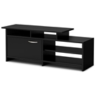 Step One Black TV Stand with 4 Open Shelves