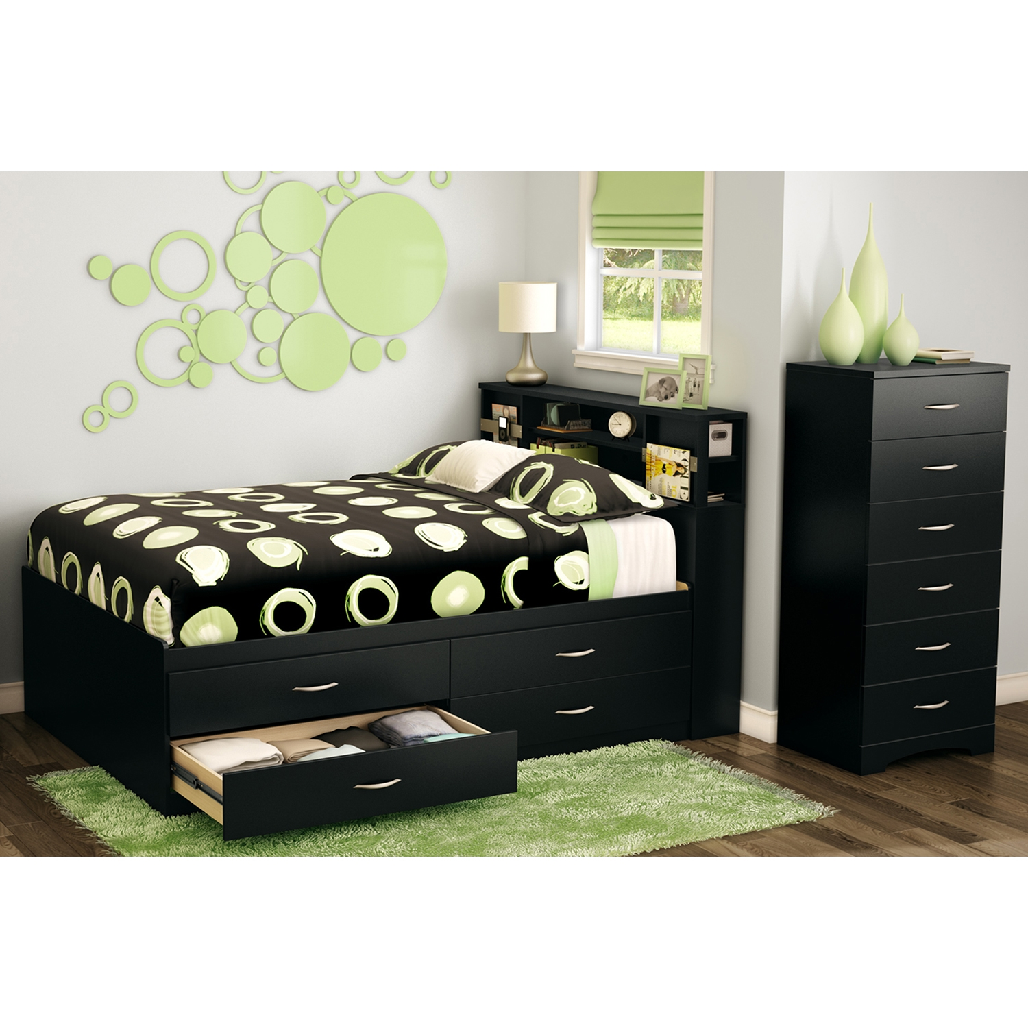 Step One Full Captain Bed - 4 Drawers, Pure Black - SS-3107209