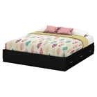 Step One King Platform Bed - 6 Drawers, Pure Black