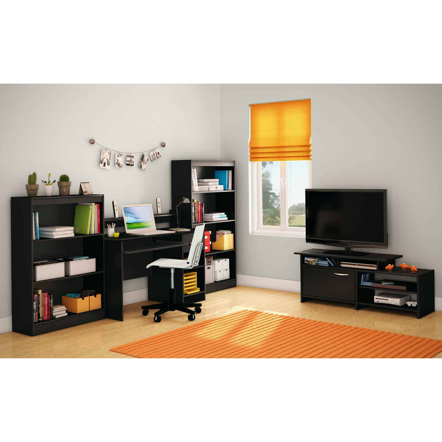 Step One TV Stand - Pure Black - SS-3107661C