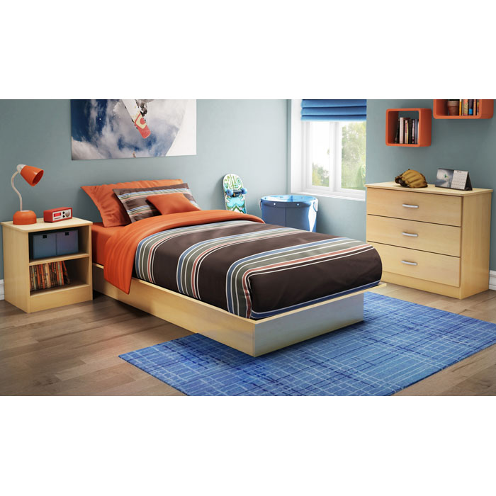 Step One 3 Piece Twin Bedroom Set in Natural Maple - SS-3113-3PC