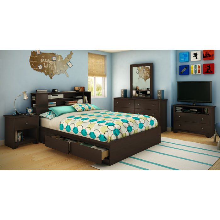 Vito Queen Mate's Bed with Bookcase Headboard - SS-3119210-3119092