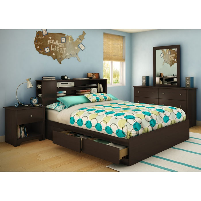Vito Queen Chocolate Bedroom Set with Bookcase Bed - SS-3119-4PC