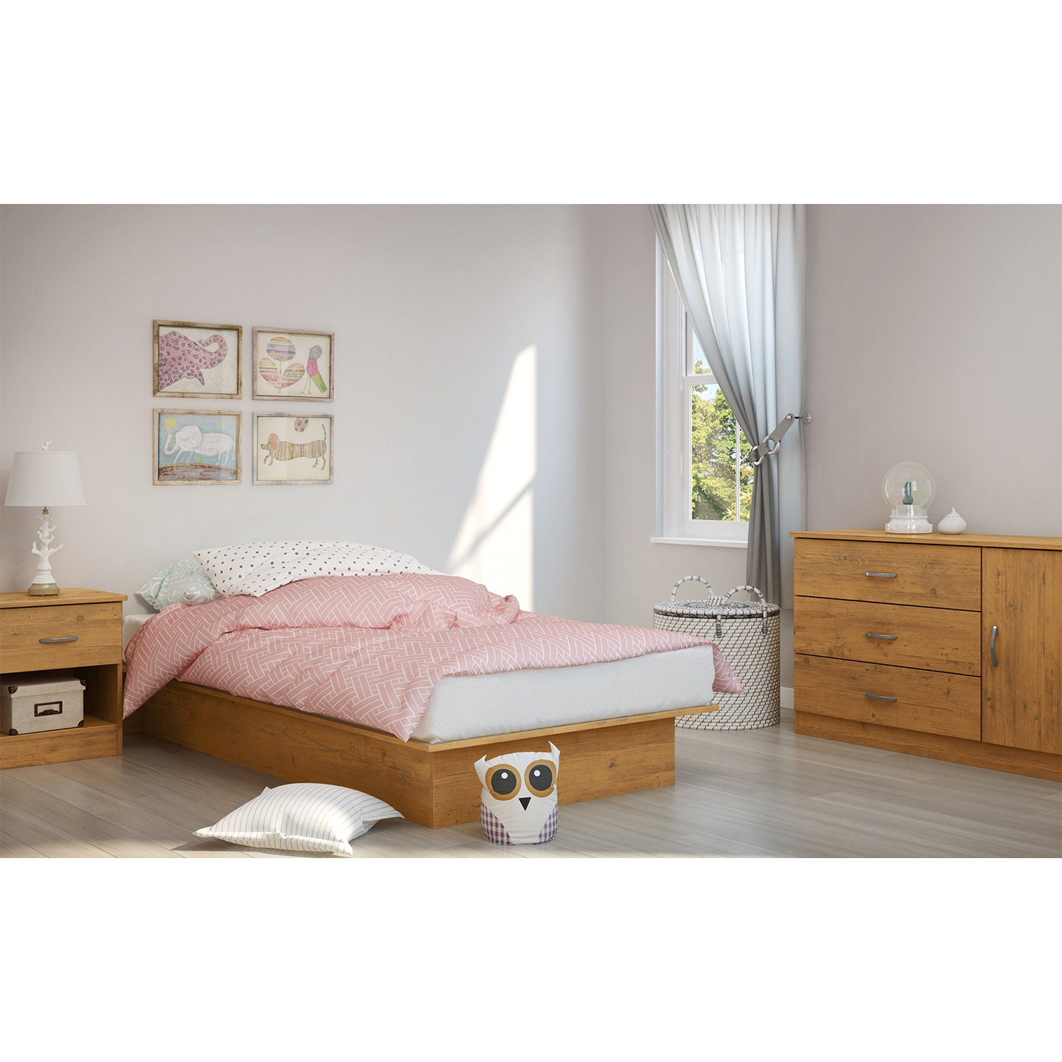 Libra Twin Platform Bed - Country Pine - SS-3132235