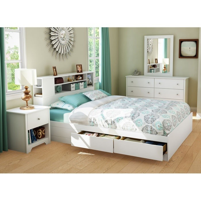 Vito Queen White Bedroom Set with Bookcase Bed - SS-3150-4PC