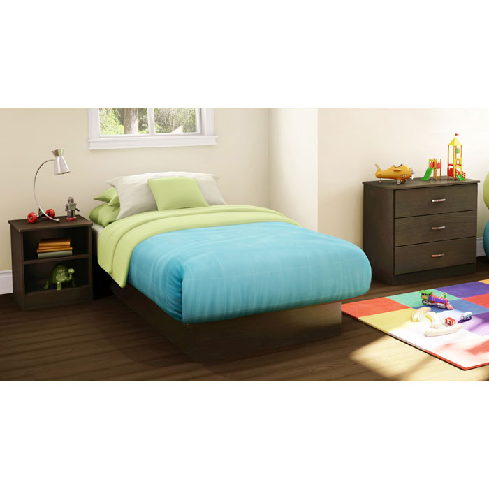 Libra Chocolate Twin Bed, Nightstand, and Chest Set
