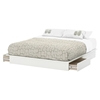 Step One King Platform Bed - 2 Drawers, Pure White