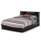 Vito Queen Black Mates Bed with Bookcase Headboard